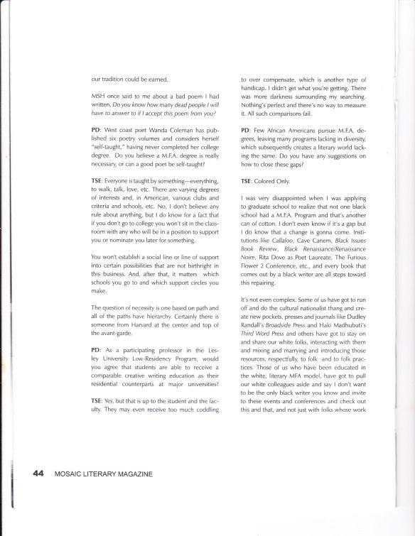 Mosaic Literary Magazine: Thomas Sayers Ellis Interview   Penny