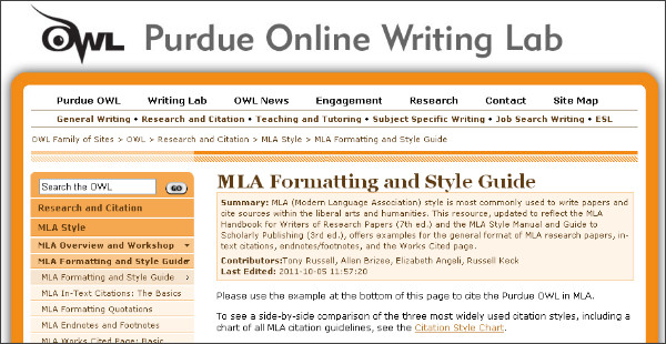Owl online writing lab mla